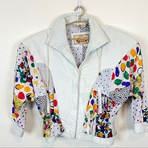 Vintage Avanti Fino White Leather Pop Art 80s Coat